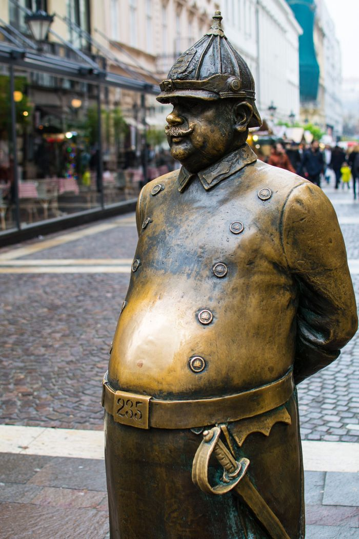 Statue fat policeman - budapest