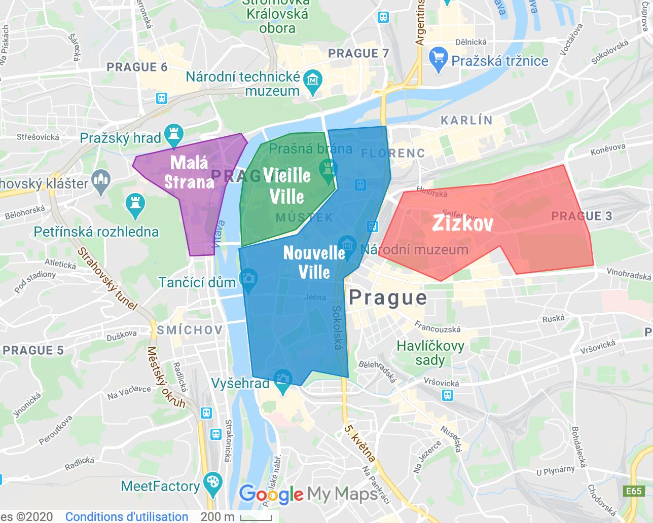 plan quartiers prague