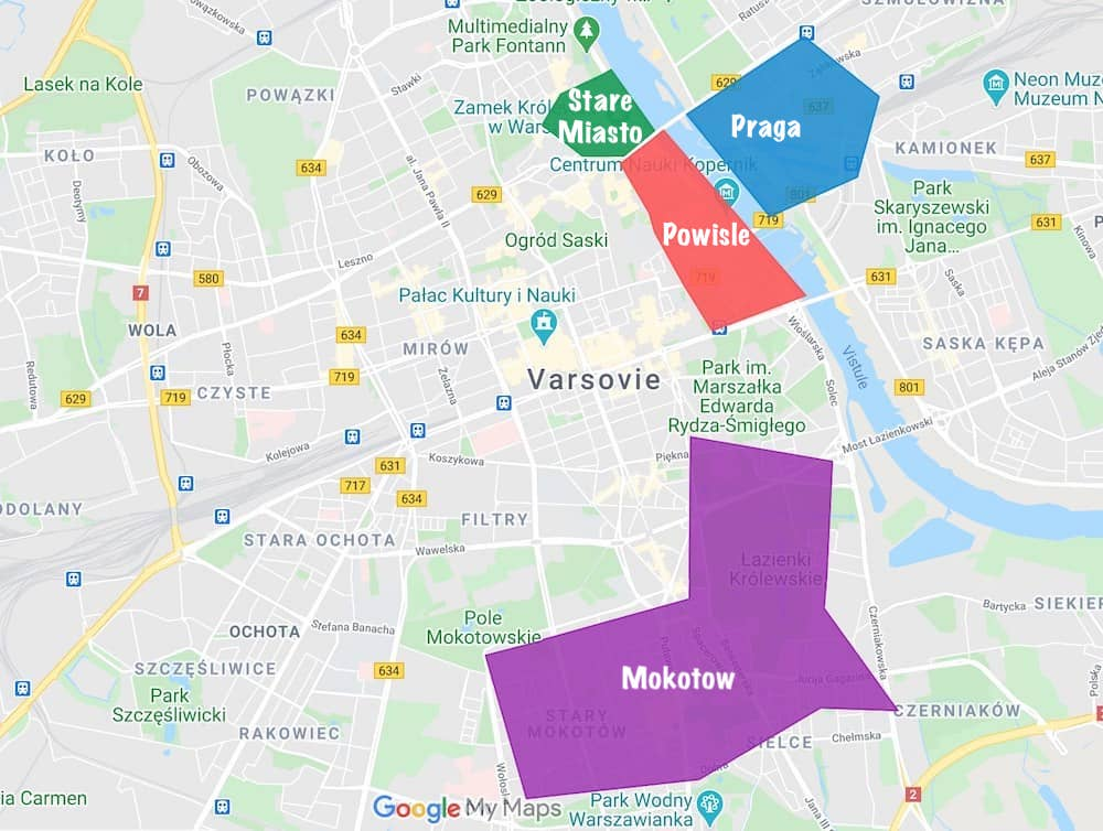 quartiers ou loger à varsovie